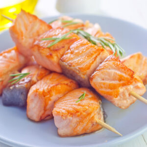 home delivered meals - salmon skewers