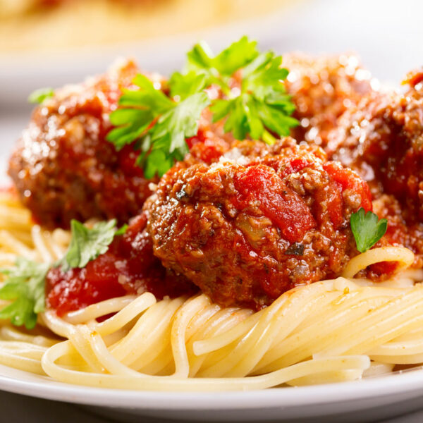 home delivered meals spaghetti and meatballs