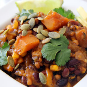 Black bean chili with butternut squash and rice
