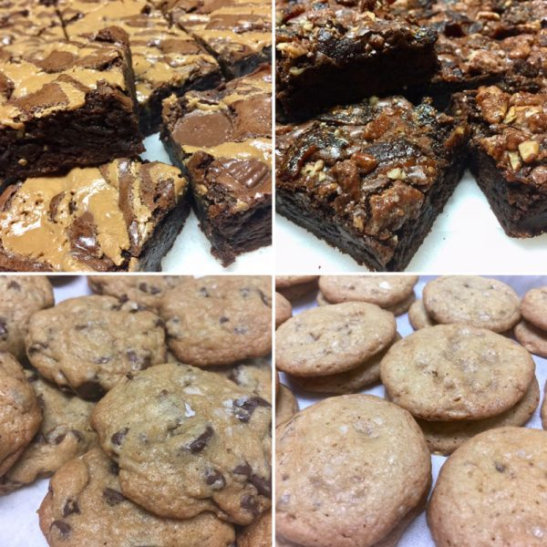 Cookies and brownie selection