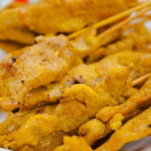 curry coconut pork skewers