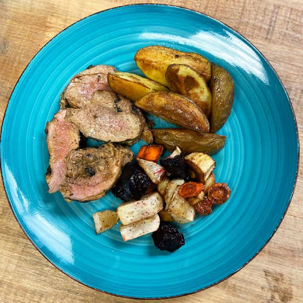 bourbon pork roasted potatoes root vegetables