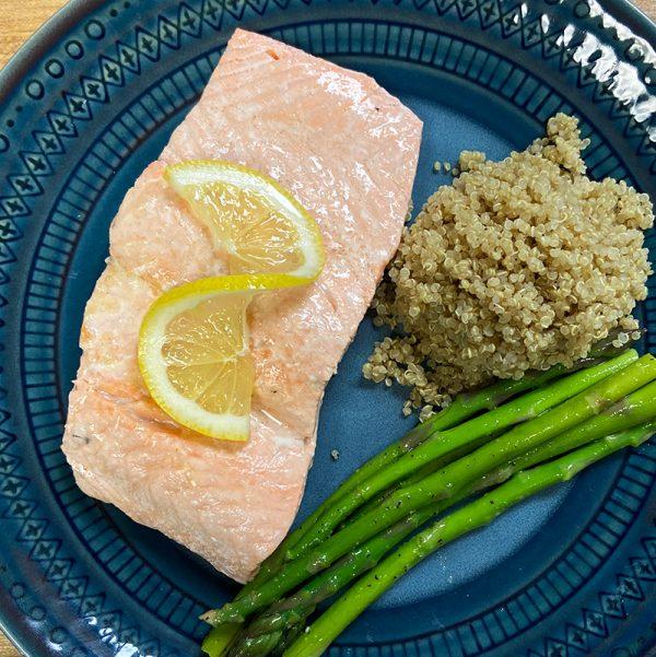 poached salmon quinoa & asparagus